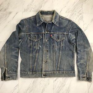 Vintage Levi's Denim Jacket Distressed Jean Sz L